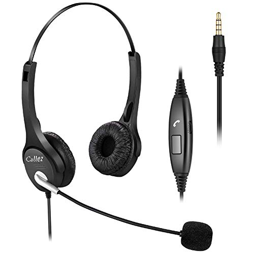 Callez 3.5mm Cell Phone Headset Dual, Corded Computer Headsets with Microphone Noise Canceling for iPhone Samsung Galaxy Huawei LG BlackBerry Laptop PC Tablets Podcast Skype Home Office C402E2