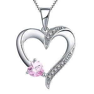YL Kette Herz Damen Halskette Silber 925 mit Oktober Geburtsstein Rosa Zirkonia Anhänger für Frauen