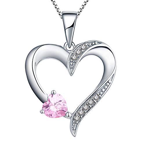 YL Halskette Damen Silber 925 Anhänger Herz mit 5MM * 5MM Herz Rosa Zirkonia Rubin Kette für frauen und Mädchen, 45-48 CM
