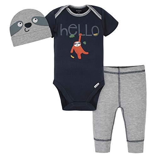 Gerber Baby Boys' 3-Piece Bodysuit, Pant and Cap Set, Grey Sloth, 0-3 Months
