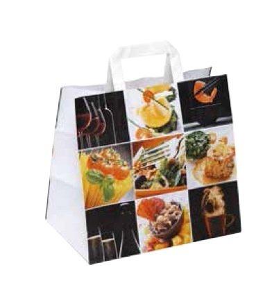 250 Papiertragetaschen, Papiertüten, Tragetaschen aus Papier, Feinkost, Fine Food, weiß mit Neutralmotiv, 26+17x25cm / 260+170x250mm, stabil, 90g/m²