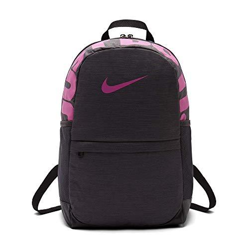Nike Kids' Brasilia Backpack, Kids' Backpack with Durable Design & Secure Storage, Thunder Grey/Black/Active Fuchsia