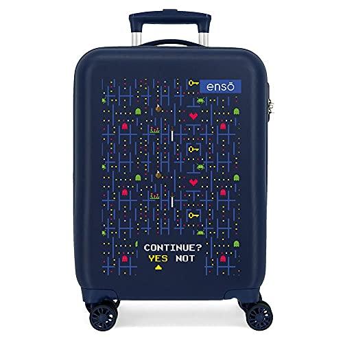 Enso Gamer Maleta de Cabina Azul 38x55x20 cms Rígida ABS Cierre de combinación Lateral 34 2 kgs 4 Ruedas Dobles Equipaje de Mano