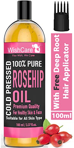 WishCare ® 100% Pure & Natural Premium Rosehip Seed Oil - For Face, Nails, Hair and Skin - 100 Ml