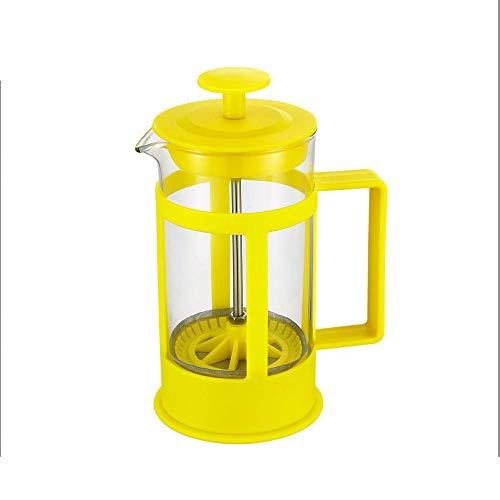 Licht en draagbaar 800Ml Druk Type Koffie Handgemaakte Theepot 304 Filter Apparaat Voedselkwaliteit Pp Materiaal Drukpot 800ml Geel