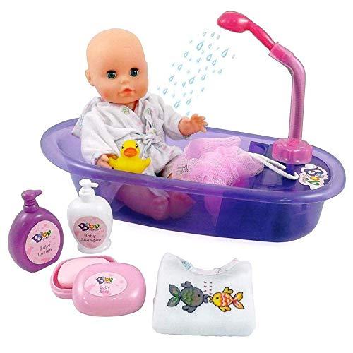 Puppenbad Badewanne spielen Puppe abnehmbare pädagogische badezeit spielen spielzeug set, 7 stück puppe bad set mit puppe, badewanne, robe und badezusätze - baby dalia puppe bading geschenkset liuchan