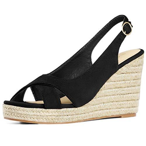 Allegra K Damen Peep Toe Slingback Keilabsatz High Heels Sandalen Schwarz 40 EU/Label Size 9 US