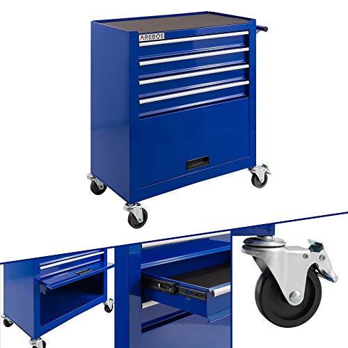 Arebos Werkstattwagen 4 Fächer + großes Fach für Ihr Werkzeug | inkl. Antirutschmatten | 2 Rollen mit Feststellbremse (Blau)