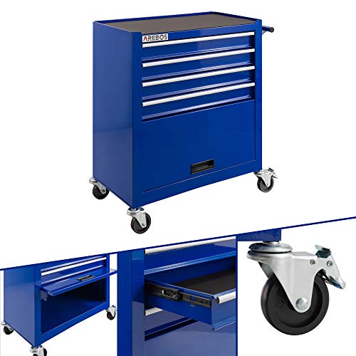 Arebos Werkstattwagen 4 Fächer + großes Fach für Ihr Werkzeug | inkl. Antirutschmatten | 2 Rollen...