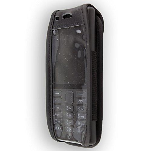 caseroxx Hülle Ledertasche mit Gürtelclip für Nokia 216 aus Echtleder, Tasche mit Gürtelclip & Sichtfenster in schwarz