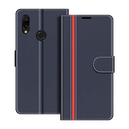 COODIO Handyhülle für Xiaomi Redmi 7 Handy Hülle, Xiaomi Redmi 7 Hülle Leder Handytasche für Xiaomi Redmi 7 Klapphülle Tasche, Dunkel Blau/Rot