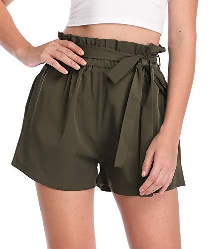 MISS MOLY Kurze Hose Damen Sommer Shorts Hohe Taille mit Bindergürtel High Waist Leicht Grün Large