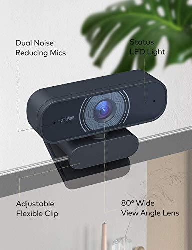 Roffie USB HD 1080P Webcam mit geräuschunterdrückendem Mikrofon PC Laptop Desktop Webkamera mit drehbarem Clip für Videoanrufe,Spiele,Live-Streaming und Konferenzen