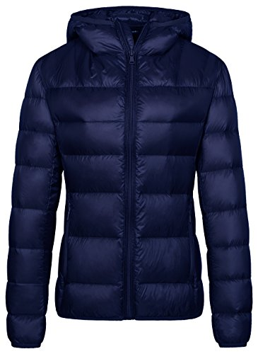 Wantdo Damen Packbar Leicht Daunenjacke mit Kapuze Navy Medium