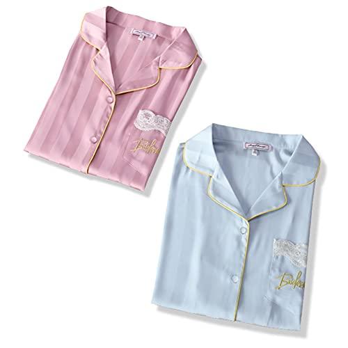 TIANLU El camisón de las mujeres, novedad Sleepshirts con cuello en V de manga corta para dormir camisa suelta cómoda pijama ropa de dormir(Azul + rosa/L)
