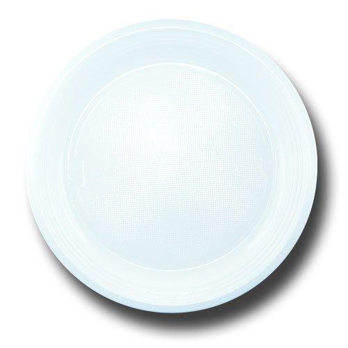 Plastikteller Farbige PS Kunststoff, 10, 50 oder 100 Stück Sparsets (Weiß, 10)
