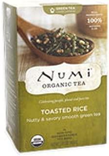 Numi Organic Tea Toasted Rice, 18 Count Box of Tea Bags (Pack of 3) Full Leaf Sencha Green Tea