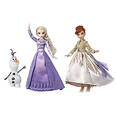 Frozen Disney Elsa, Anna, & Olaf Deluxe Fashion Doll Set with Premium Dresses, Shoes and Accessories Inspired by Disney's 2 (Amazon Exclusive)