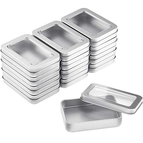 TecUnite Metal Tin Box Clear Top Tins Box Empty Storage Tins Case Rectangle Containers Can with Large Clear Window for Candles Candies Gifts Balms and Treasures Silver 24