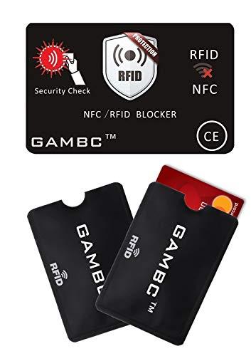 [4 Pz] 2 Carte RFID Protection con LED + 2 Custodie Blocco RFID/NFC GAMBC porta carte di credito contactles bancomat- Protezione Rfid bancomat Protegge l'itero portafoglio nessuna BATTERIA necessaria