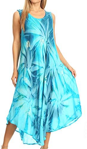 Sakkas 00831- Sternlicht-Kaftan-Behälter-Kleid/vertuschen-türkis/Blau-One Size