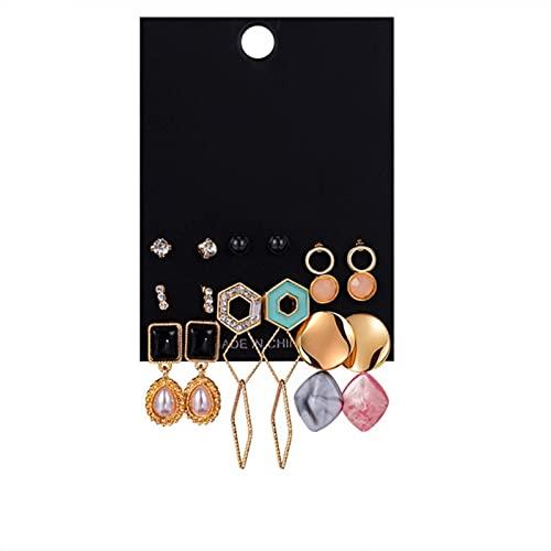 CXWK Mujer Conjunto de Pendientes Borla Perla Pendientes acrílicos para Mujer Bohemio Joyería de Moda Pendientes de aro geométricos