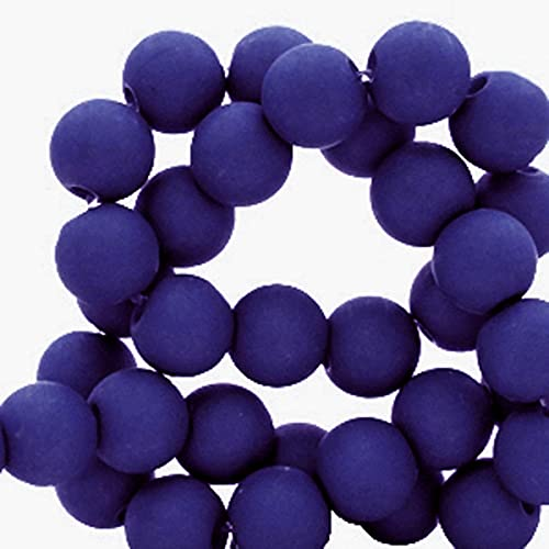 Sadingo Perlas acrílicas de 6 mm, 600 unidades, color azul (azul noche), para hacer tú mismo, cuentas para manualidades, cadena para teléfono móvil.
