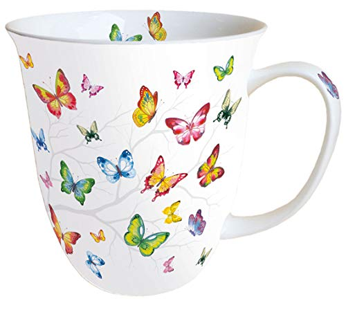 Ambiente Becher Mug Tasse Tee/Kaffee Becher ca. 0,4L Floral Colourful Butterflies