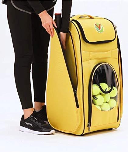 TennisPUB, New Adventure to Tennis Play – Ball Hopper (storing 200+ balls) on Wheels, Tennis Bag for 2 rackets, Easy Pickup Basket & Travel cart; No more struggle bending for balls!