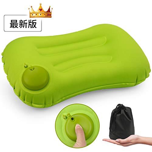 Anyshop エアーピロー 携帯枕 手動プレス式 空気枕 旅行用 収納袋付き 軽量 コンパクト アウトドア 車中泊 キャンプ オフィス用 1年間保証