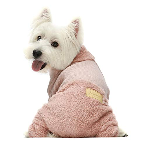 Fitwarm Turtleneck Knitted Dog Clothes Winter Outfits Pet Jumpsuits Cat Sweaters Pink Medium