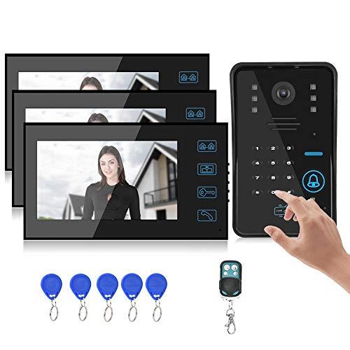 Pokerty TFT LCD Video Doorbell, 7in 960 x 480 Videoportero 3 Monitores Tarjeta de contraseña Sistema de Acceso de visión Nocturna(Enchufe de EE. UU.)