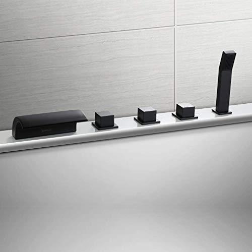 KINSE Schwarz Badewannenarmatur 5-Loch Armatur für Badewanne Wasserhahn Wasserfall Wannenbatterie für den Wannenrand