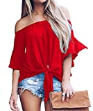 LuckyMore Womens Striped Off Shoulder Bell Sleeve Shirt Tie Knot Summer Blouses Tops (M, A-Red)