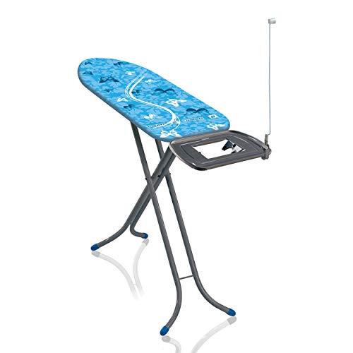 Leifheit Bügeltisch AirBoard Express M Compact 60years Color Edition blau, ideal für Dampfstationen, kompakt zu verstauen, Bügelbrett mit Baumwollbezug, Dampfbügelbrett mit ultraleichter Bügelfläche