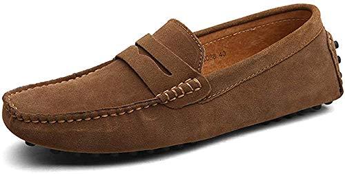 DUORO Herren Klassische Weiche Mokassin Echtes Leder Schuhe Loafers Wohnungen Fahren Halbschuhe (50 EU=300mm,Khaki)