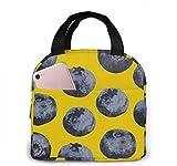 Bolsa para el almuerzo, con aislamiento, para el almuerzo, con fondo amarillo de arándanos, livianos, bolsas para el almuerzo, bolsas para el trabajo escolar, viajes