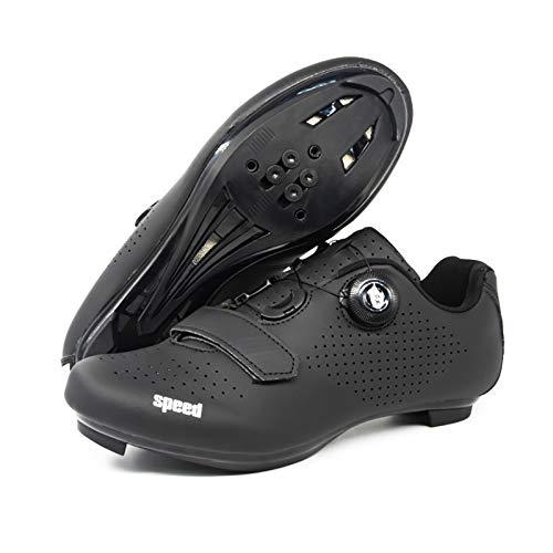 WWSUNNY Nuevos Zapatos De Ciclismo De Carretera Zapatos De Bicicleta De Carretera para Hombre Zapatillas De Deporte Transpirables Profesionales Ultraligeras con Cierre Automático