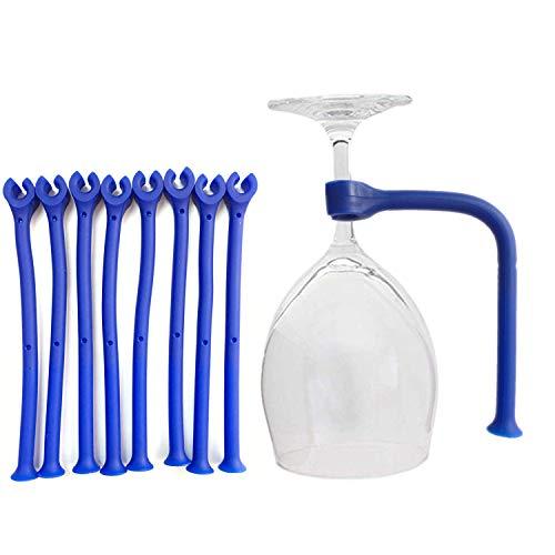 PPX Accesorio de lavavajillas Flexible,Silicone Stemware Saver Flexible Stemware Holder Lavaplatos Protector de Vidrio de Vino Tether Silicona para lavavajillas, azu (8)