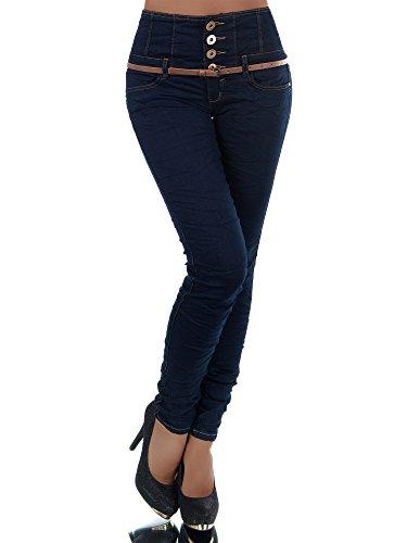 Diva-Jeans N207 Damen Jeans Hose Corsage Damenjeans High Waist Röhrenjeans Hochbund, Blau, 38