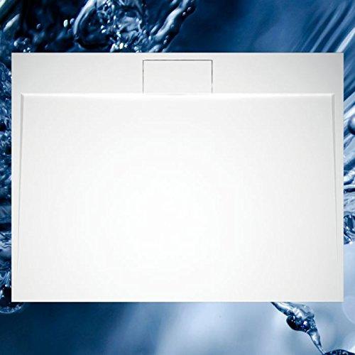 Mineralguss - Duschbecken Dante mit seitlichem Rinnenablauf in versch. Größen Antirutsch mit Antirutsch (werkseitig), Größe 90x90 cm