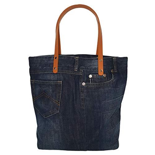 Handtasche Damen Mädchen groß, Denim Damen Tasche, Schultertasche Damen, Shopper Tasche für den Alltag, Canvas Tasche, Zero Waste Shopping Bag