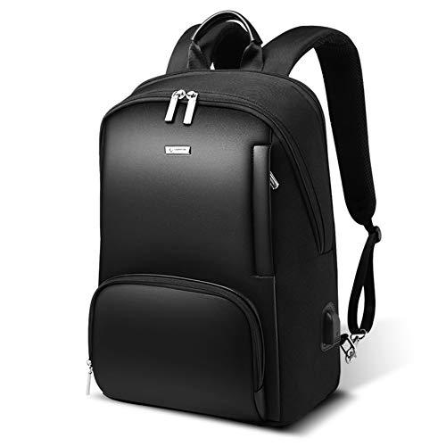 Zaini da uomo per laptop da 15', in pelle e microfibra, impermeabili, per studenti e università Nero Model3 16''H*12''W
