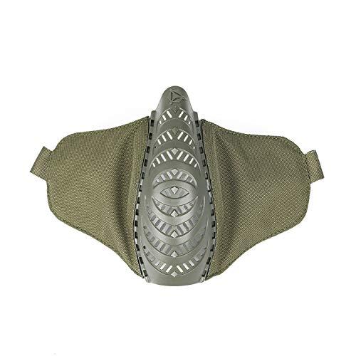 OneTigris X Division SIX T'Farge® Airsoft Faltbare halbe Maske Mesh Gesichtsmaske |MEHRWEG Verpackung (OD Grün)