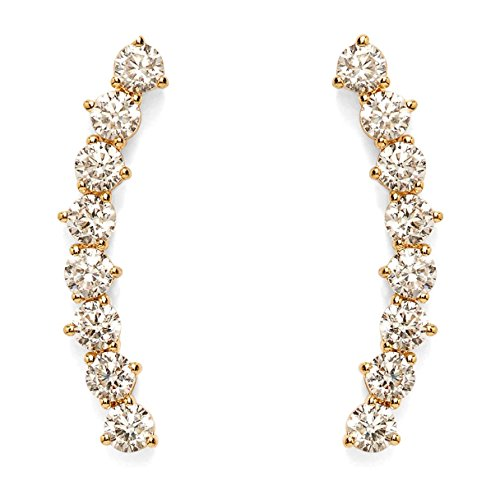 PAVOI 14K Yellow Gold Plated 'Hearts & Arrows' Simulated Diamond Ear Crawler - Cuff Earrings Hypoallergenic Stud Ear Climber Jackets