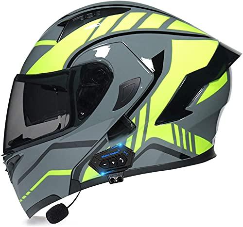 qaqy Motocicleta de Casco Completo para Adultos al Aire Libre Casco Integral Bluetooth Integrado Casco de Moto Modular con Doble Visera Cascos de Motocicleta (Color : D, Size : Medium)