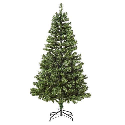 homcom 180cm Albero di Natale Pino Artificiale Decorazione Natalizia con Rami 634 e Luci a LED 217, Base Pieghevole Rimovibile