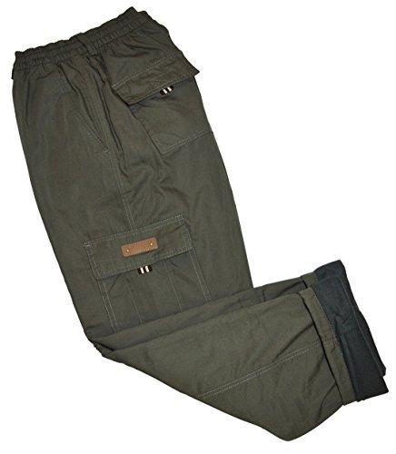 thb Richter Thermohose Cargo Fleecefutter Cargohose gefuttert Winter Hose Pants Winterhose Fleece Futter warm gefüttert (XL, Armygrün)