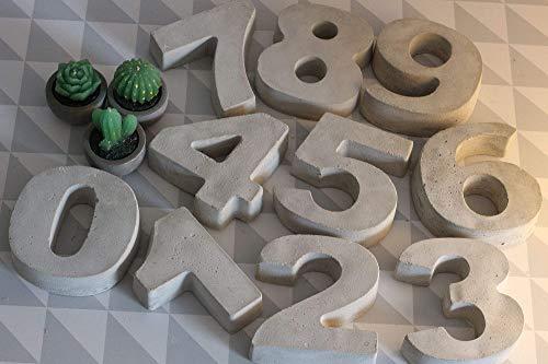 Beton Zahlen 0-9, als Hausnummer, Adventskranz, Jahreszahl, Tischdeko und Geschenk zum Geburtstag & Jubiläum, Silber & Goldhochzeit