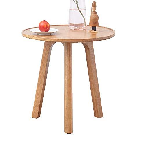 Home&Selected fineer/bijzettafel, rond, zijtafel, salontafel, salontafel, salontafel voor weinig ruimte, afbeelding Three Legged Oak End, 45 x 50 cm